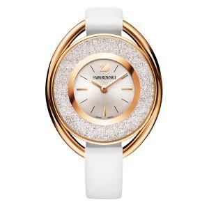 Swarovski Crystalline Oval Leather Strap Watch, Rose & White 5230946