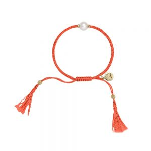 Jersey Pearl Tassel Bracelet - Coral with Gold Detail 1728521