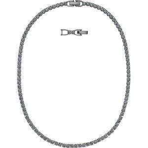 Swarovski Tennis Deluxe Necklace, Black, Ruthenium Plating