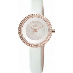 Niche Obaku Ladies Rose Gold Plated Watch with Crystals / cubic zirconia.