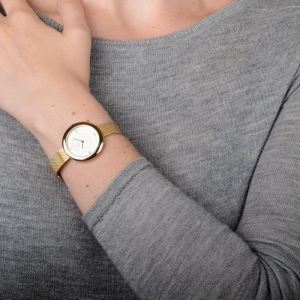 Obaku Ladies 'Lyng' Gold Mesh Strap Watch