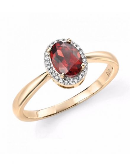 Elements Gold 9ct Yellow Gold & Diamond Garnet Cluster Ring GR515R