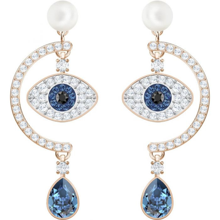 13078ef14 Swarovski Duo Evil Eye Pierced Earrings, Multi-Coloured, Rose Gold Plating  5425860