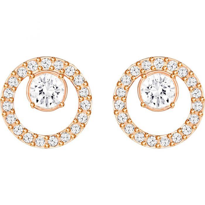 8e0e28f9b Swarovski Creativity Circle Pierced Earrings, White, Rose Gold Plating  5199827