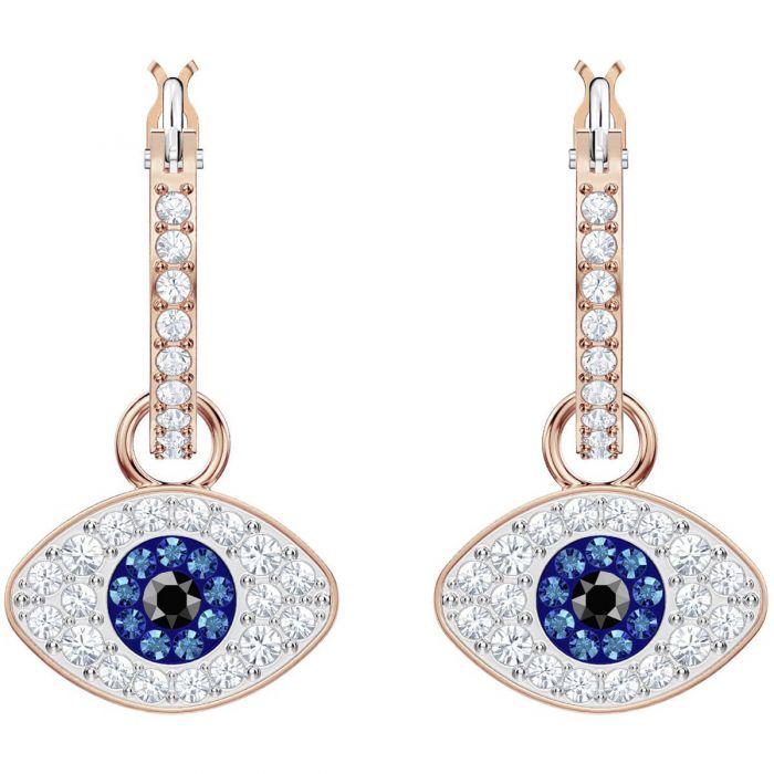 3d4367938 Swarovski Duo Evil Eye Hoop Earrings, Multi-coloured, Rose Gold Plating  5425857
