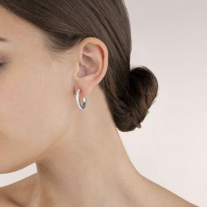Coeur De Lion Silver Hoop Earrings - Clear Crystal 0139211817