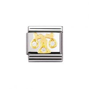 Nomination Classic Zodiac Charm - 18k Gold and Cubic Zirconia Libra
