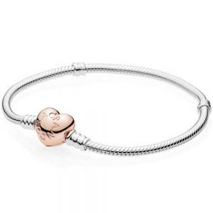 Pandora Moments Rose Heart Clasp Snake Chain Bracelet-580719-16, 17, 18, 19, 20, 21, 23