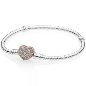 Pandora Moments Rose Pavé Heart Clasp Snake Chain Bracelet-586292cz-16, 17, 18, 19, 20, 21