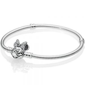 Pandora Disney Moments Pavé Minnie Mouse Clasp Snake Chain Bracelet-597770CZ-16, 17, 18, 19, 20, 21