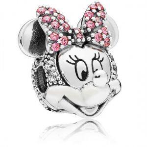 Pandora Disney Minnie Mouse Pink Pavé Bow Clip Charm-797496czs