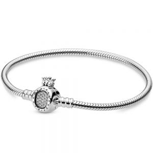 Pandora Moments Crown O Clasp Snake Chain Bracelet-598286cz-16,17, 18, 19, 20, 21, 23