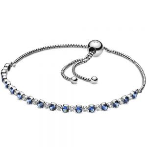 Pandora Blue and Clear Sparkle Slider Bracelet-598517c01-23, 598517c01-25