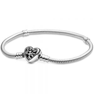 Pandora Moments Family Tree Heart Clasp Snake Chain Bracelet-598827C01-16, 17, 18, 19, 20, 21, 23