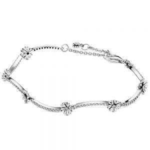 Pandora Sparkling Daisy Flower Bracelet-598807c01-16, 598807c01-18, 598807c01-20