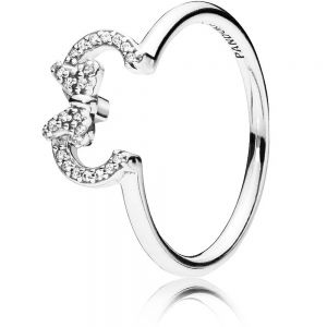 Pandora Disney Minnie Mouse Ears Silhouette Puzzle Ring 197509CZ