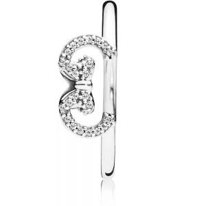 Pandora Disney Minnie Mouse Ears Silhouette Puzzle Ring 197509CZ