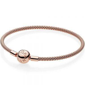 Pandora Moments Mesh Rose Bracelet-586543-17, 586543-19, 586543-21