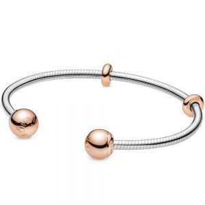 Pandora Moments Rose Clasp Snake Chain Style Open Bangle-588291-16, 588291-17.5, 588291-19