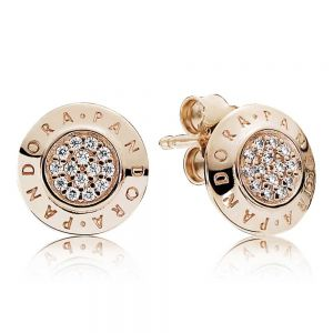 Sparkling Pandora Logo Rose Stud Earrings-280559cz
