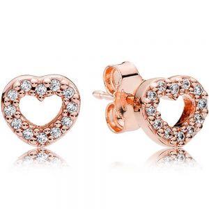 Pandora Rose Open Heart Stud Earrings-280528cz
