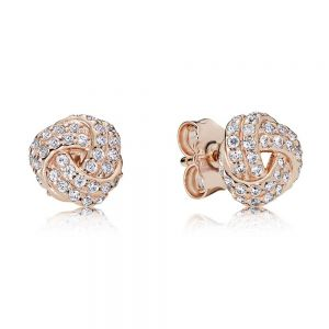 Pandora Shimmering Knot Rose Stud Earrings-280696cz