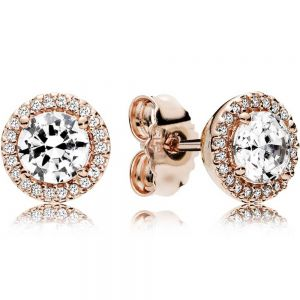 Pandora Rose Round Sparkle Stud Earrings-286272cz