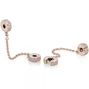 Pandora Rose Clear Pavé Safety Chain Clip Charm 786322cz-05