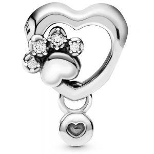 Sparkling Paw Print & Heart Charm-798873C01