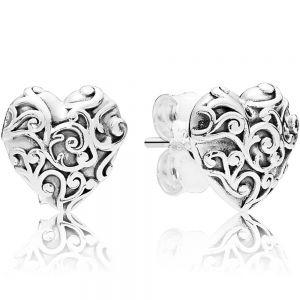 Pandora Regal Heart Stud Earrings-297693