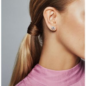 Pandora Knotted Heart Stud Earrings-298019cz