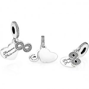 Pandora Forever Friends Heart Dangle Charm
