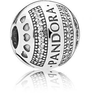 Pandora Round Logo Clip Charm 797433CZ