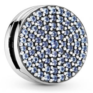 Pandora Round Blue Pavé Reflexions Clip Charm 797583C01