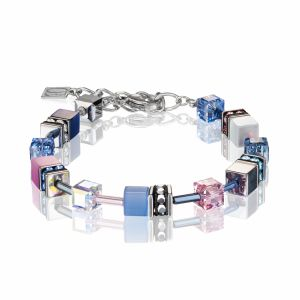 Coeur de Lion Multicoloured Blue/Rose Geocube Necklace 2839/10-0719