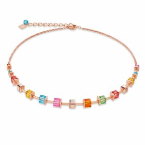 Coeur de Lion  Stainless Steel Rose Gold Multicolour GEOCUBE Necklace