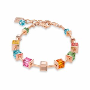 Coeur de Lion  Stainless Steel Rose Gold Multicolour GEOCUBE Necklace 4996/10-1500