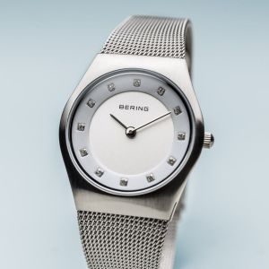 Bering Ladies Classic Brushed Silver Milanese Watch