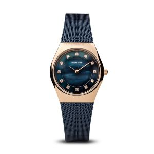 Bering Ladies Classic Polished Rose Gold and Blue Watch 11927-367