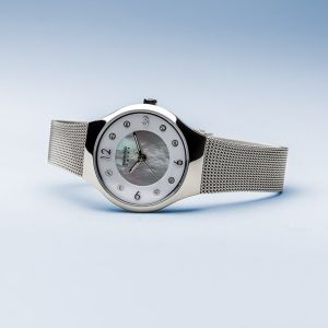 Bering Ladies Solar Polished Silver Watch