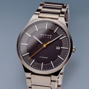 Bering Mens Solar Brushed Silver Watch