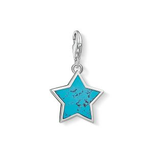 Thomas Sabo Charm Pendant - Silver and Turquoise Star 1532-404-17