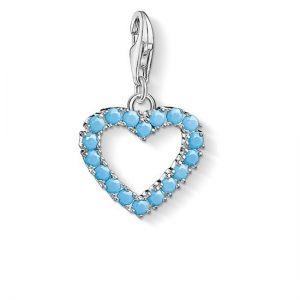 Thomas Sabo Charm Pendant, Turquoise Pavé Heart