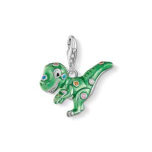 Thomas Sabo Charm Pendant - Green Enamel and Zirconia Dinosaur 1695-473-7