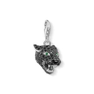 Thomas Sabo Charm Pendant - Silver and Black Zirconia Cat 1696-845-11
