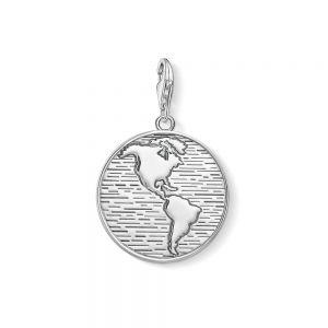 Thomas Sabo Charm Pendant - Silver World Coin 1713-637-21