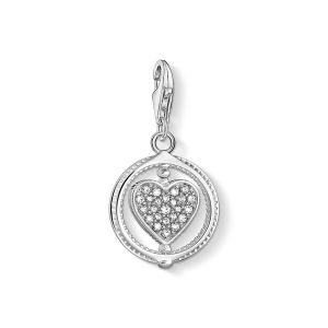 Thomas Sabo Charm Pendant - Pave Heart in Silver 1858-051-14