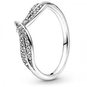 Pandora Sterling Silver Sparkling Leaves Ring with Cubic Zirconia 199533C01