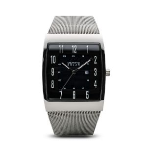 Bering Mens Solar Polished Silver Watch - 16433-002