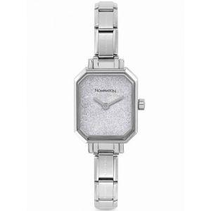Nomination Silver Glitter Rectangular Dial Charm Watch 076030_023